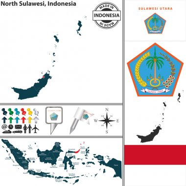Vector map of region North Sulawesi with coat of arms and location on Indonesian map stock vector
