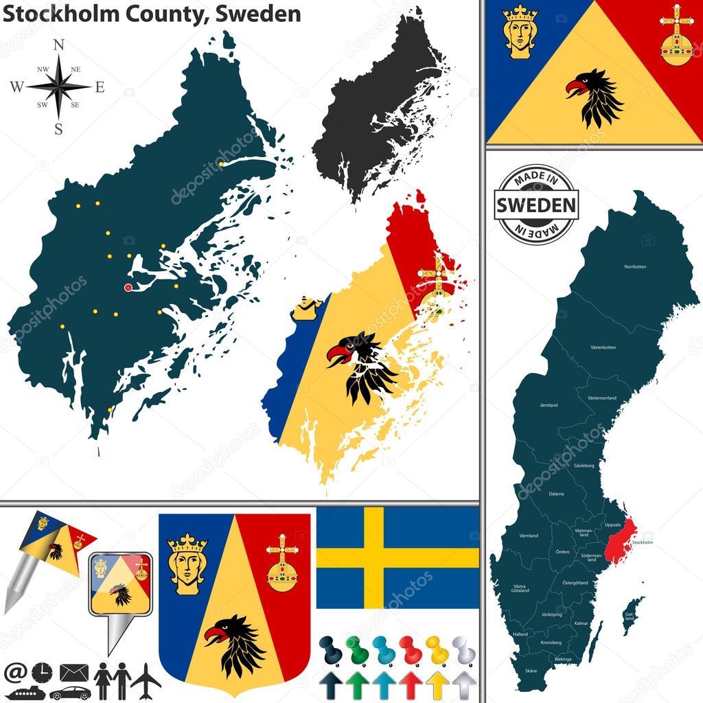 Karta över Stockholms Län Stock Vektor Depositphotos - Sweden map län