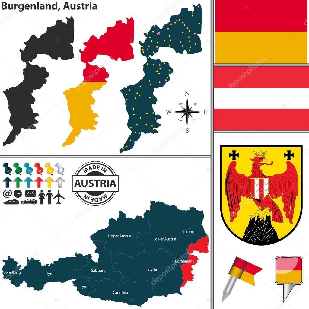ausztria térkép burgenland Térkép Burgenland, Ausztria — Stock Vektor © sateda #78291174 ausztria térkép burgenland