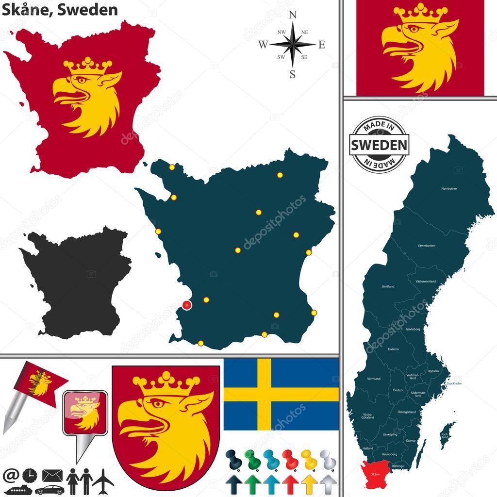 Karta Blekinge Skane.Karta Over Skane Sverige Stock Vektor C Sateda 86319734