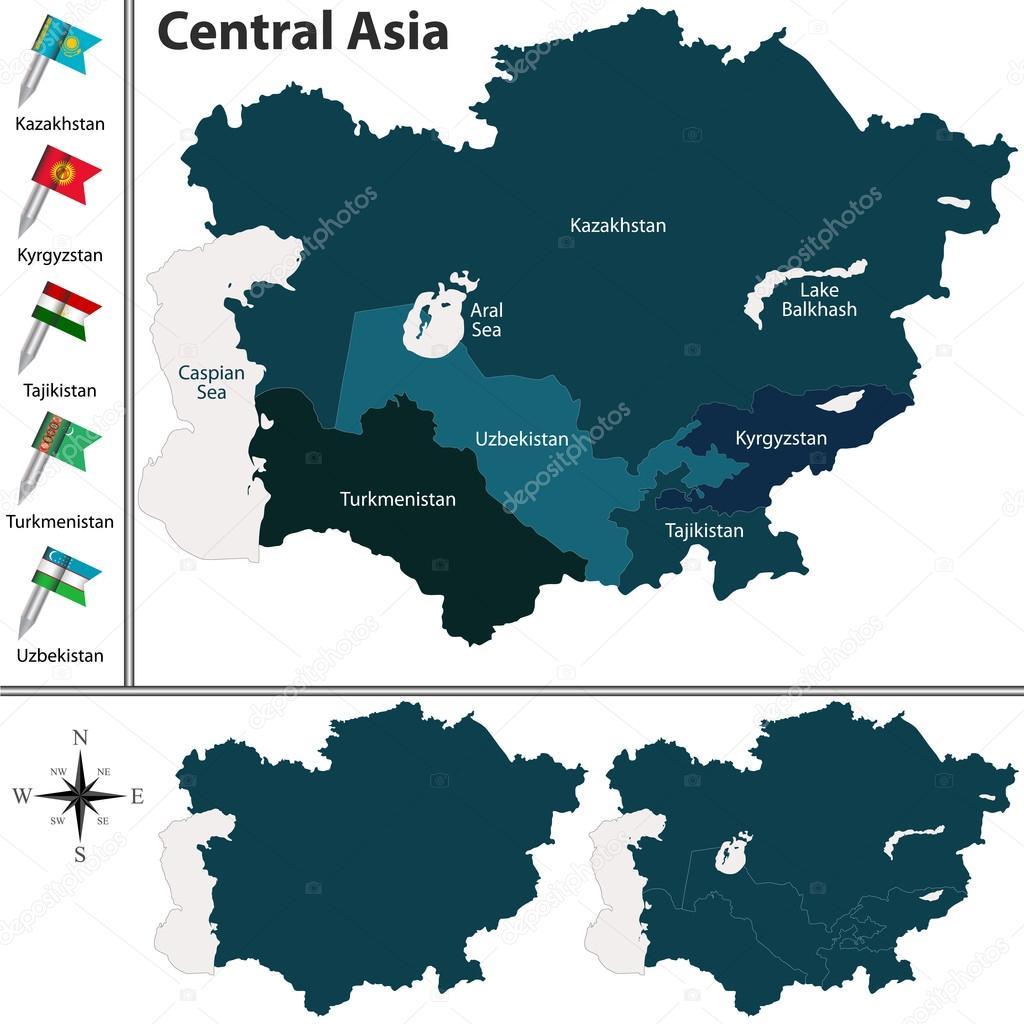 Political map of Central Asia — Stock Vector © sateda #95333866