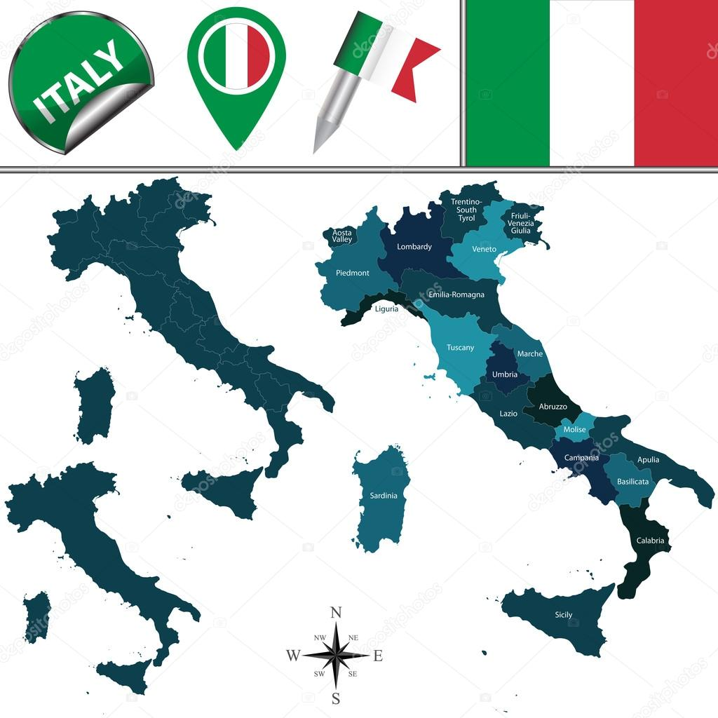 Map of Italy — Stock Vector © sateda #95334190