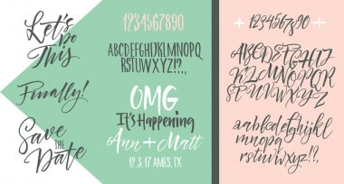 Vector alphabet. Hand drawn letters. Letters of the alphabet written with a brush. Wedding invitation set, RSVP, menu options, thank you card