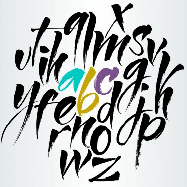 Alphabet letters: uppercase. Expressive writing. Vector alphabet. Hand drawn letters. Letters of the alphabet written with a Chinese paint brush