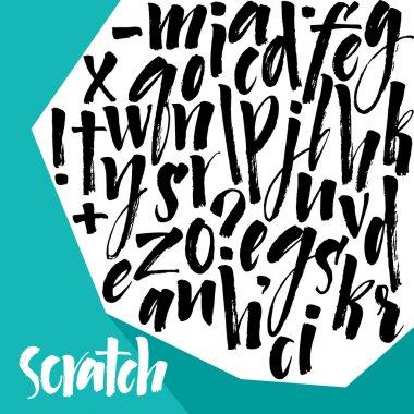 Alphabet letters: lowercase. Vector alphabet. Hand drawn letters. Letters of the alphabet written with a paint brush