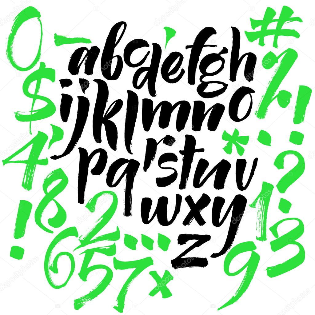 modern vector alphabet abc painted letters modern brushed