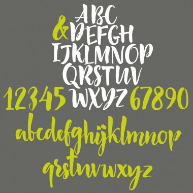 Alphabet letters: lowercase, uppercase. Vector alphabet. Hand drawn letters. Letters of the alphabet written with a paint brush