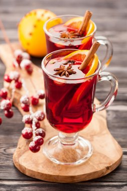 Traditional mulled wine with spices