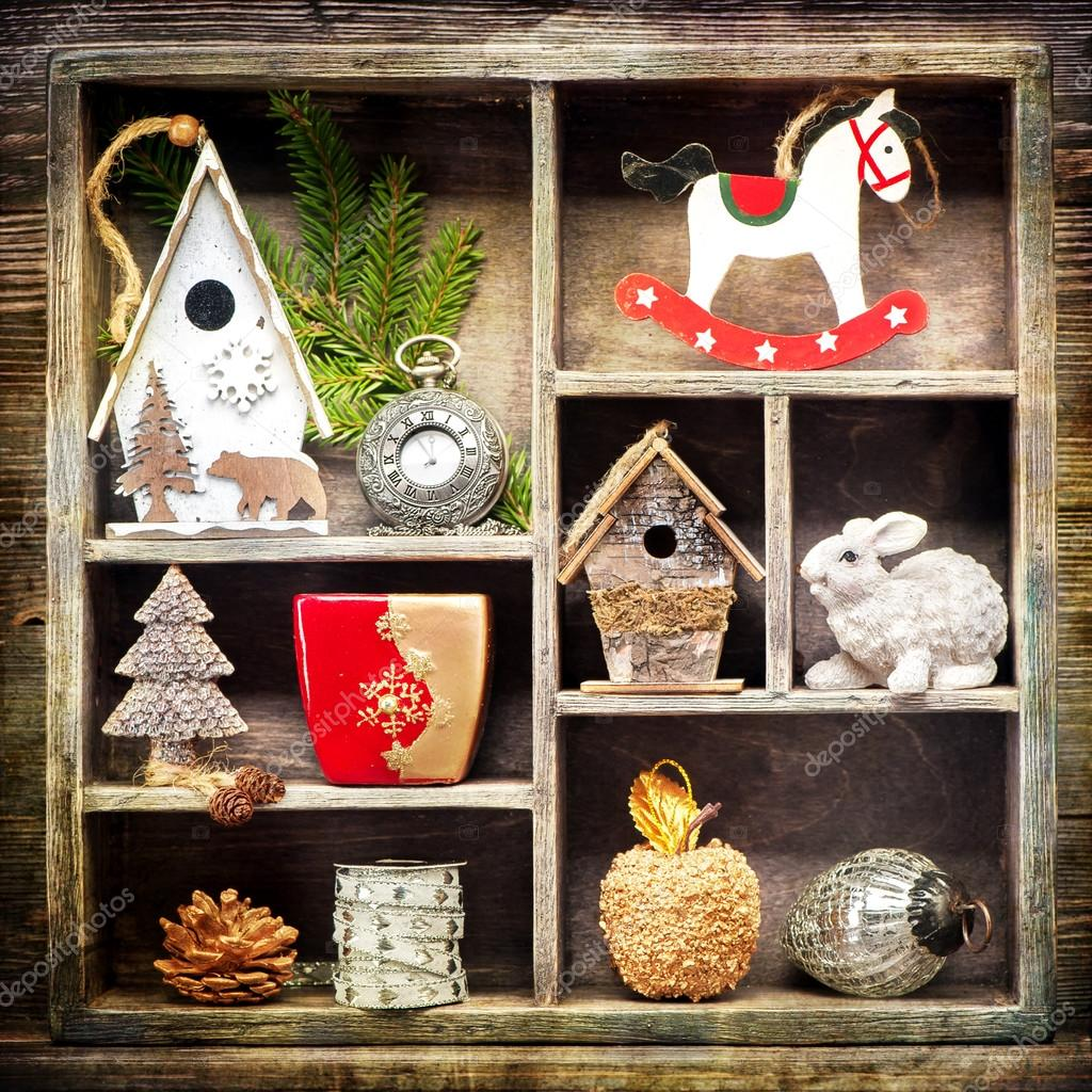 christmas collage with christmas decorations antique clocks rocking horse and christmas toys retro style photo by rozmarina