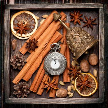 Christmas spices and decoration in vintage box.  Christmas food background