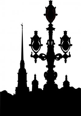 black-and-white silhouette of the Peter Paul Fortress  streetlight