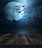 Fotografie Holzboden mit Halloween-Hintergrund