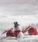 Sněhulák s zvony v zasněžené pozadí
