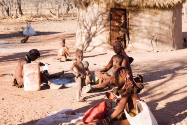 Himba people in their village
