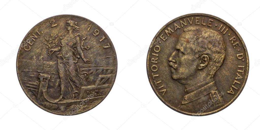 2 Cent Lire Kupfer Münze 1917 Prora Vittorio Emanuele Iii Königreich