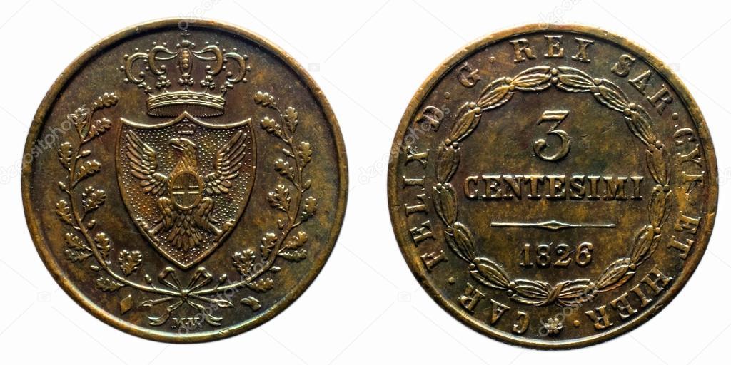 3 セント リラ サヴォイ銅コイン...
