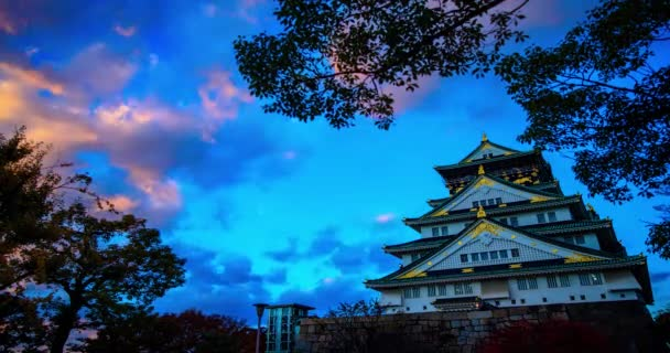 time lapse of Osaka castal at the sunset time with ncie color