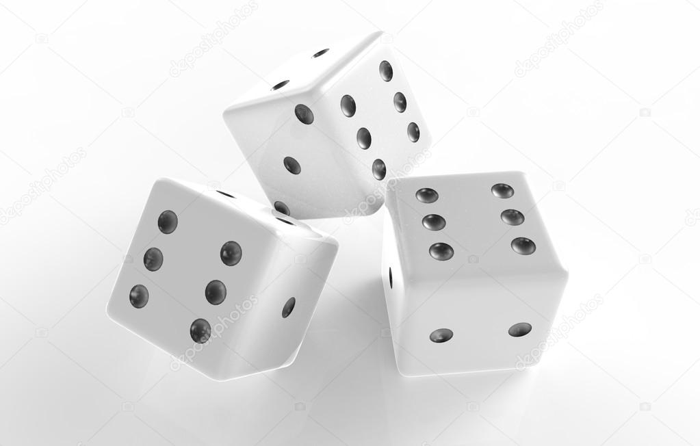 The 3D rendering of white dice with nice background color