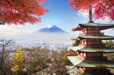 Image of the sacred mountain of Fuji in the background of blue s
