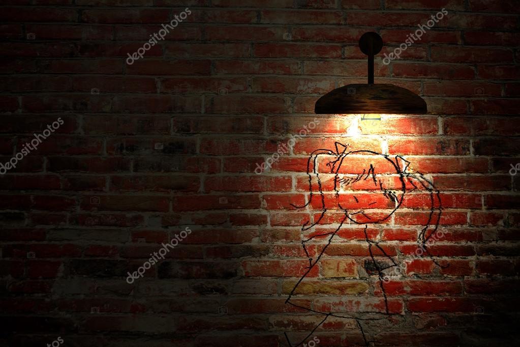 レンガの壁と 3 つの光スポットと古いインテリア ルーム ストック写真