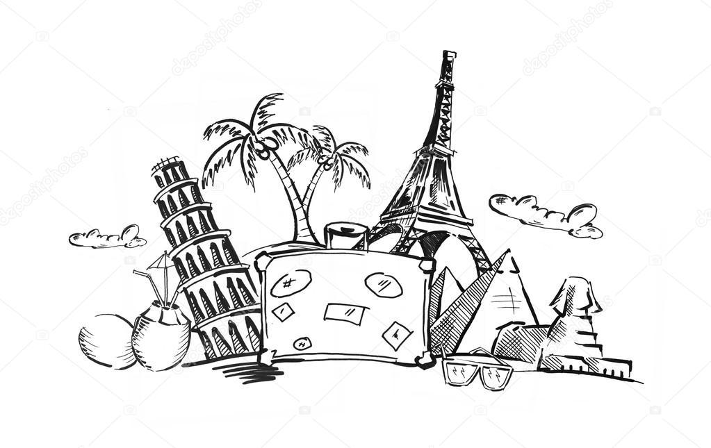 drawing of travel stuff and touristic landmarks stock photo