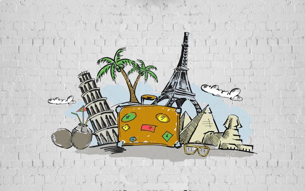 Kresba Veci Cestovani A Turisticke Pamatky Stock Fotografie