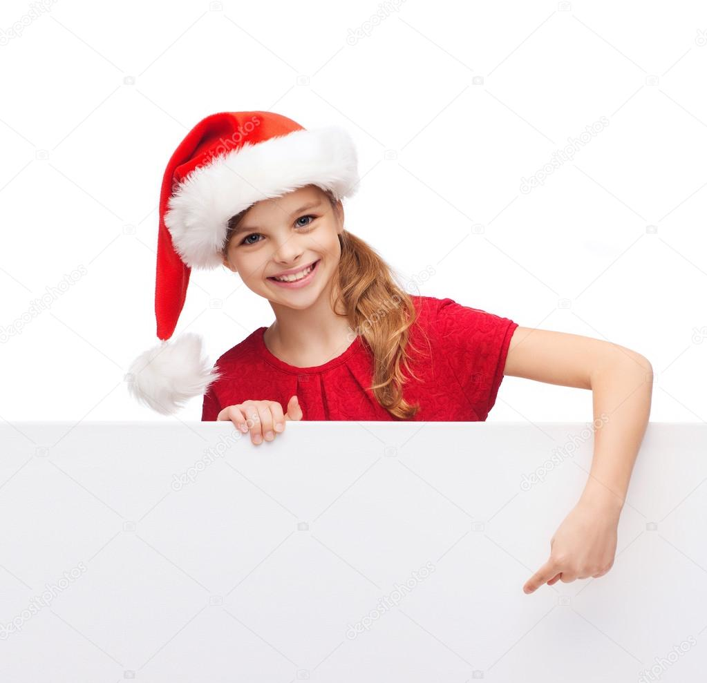 528cadbec2c child in santa helper hat with blank white board — Stock Photo ...