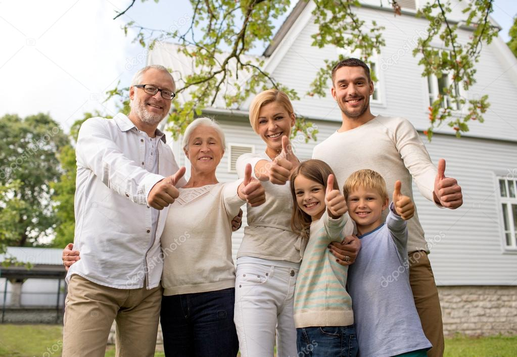 happy family in front of house outdoors — Stock Photo ... Happy Asian Family In Front Of House