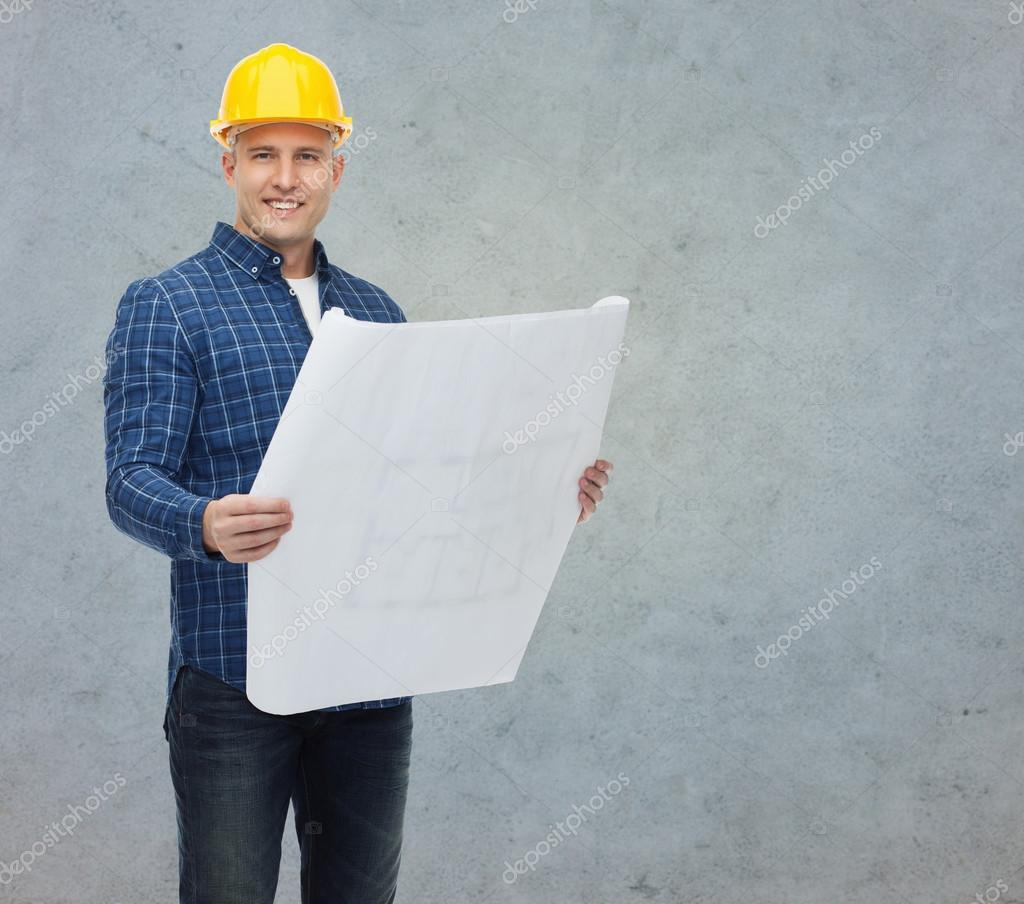 Sonriente hombre constructor en casco con blueprint fotos de stock repair construction building people and maintenance concept smiling male builder or manual worker in helmet with blueprint over gray concrete wall malvernweather Image collections