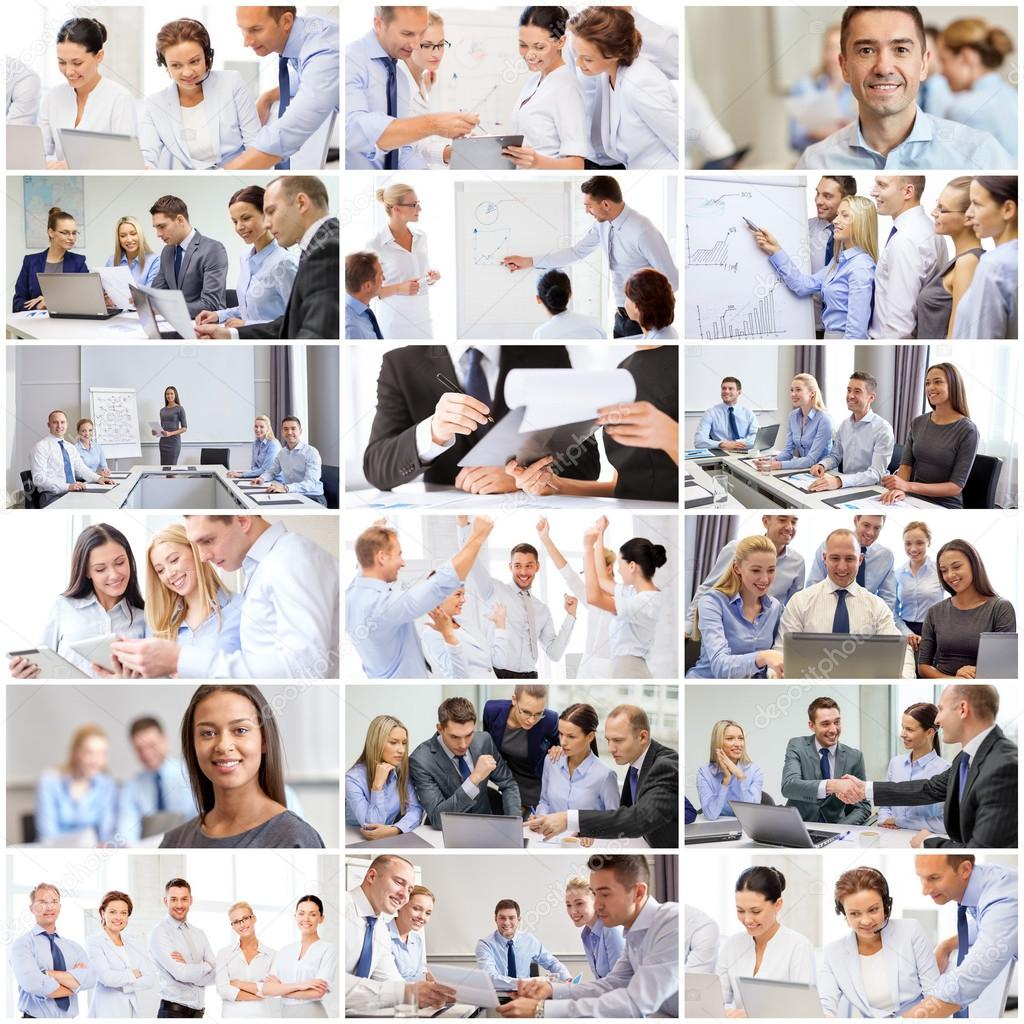collage with many business people in office stock photo