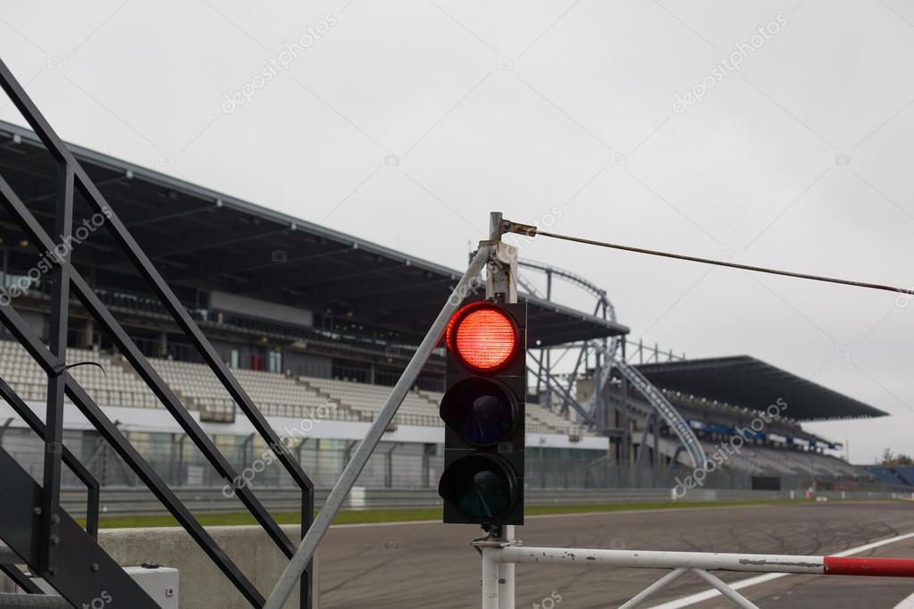 Red traffic lights and road sign on race track stock photo red traffic lights and road sign on race track stock photo aloadofball Gallery