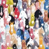 Fondo senza cuciture con i cavalli colorato cartoon