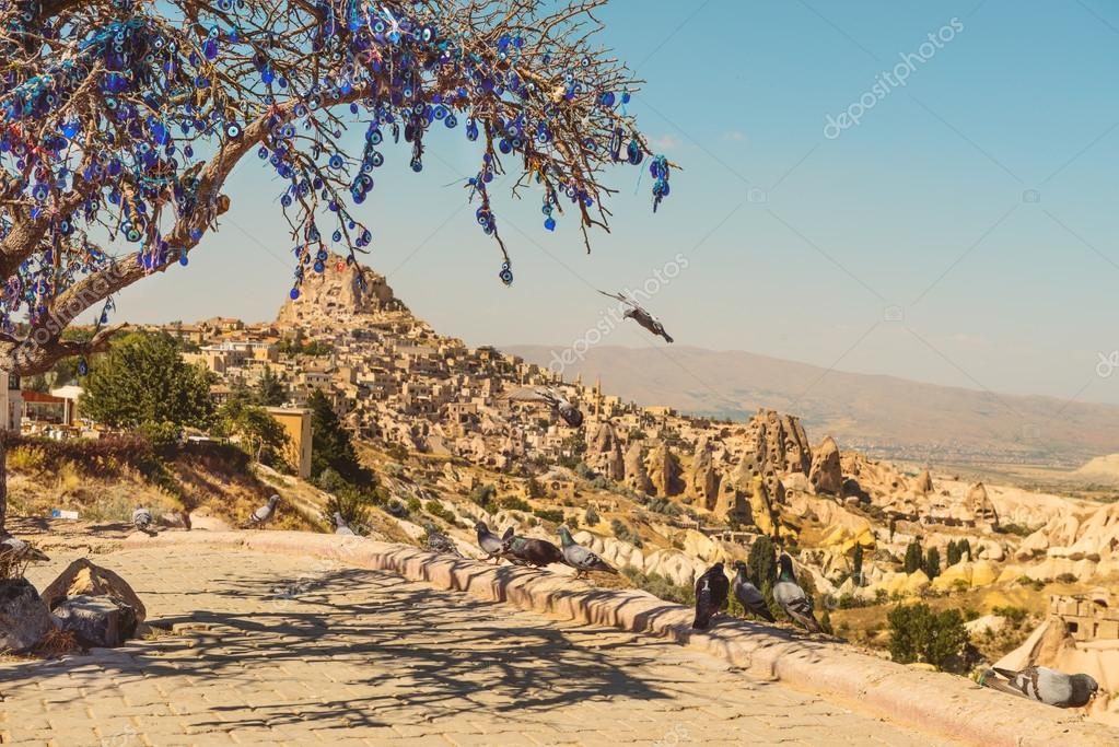 Pigeon Valley in Cappadocia and tree with nazar amulets