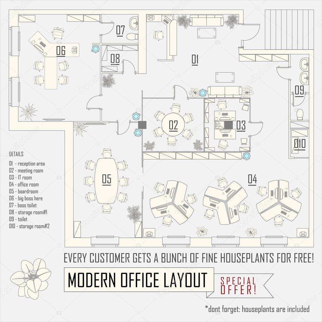 Layout De Vetor Interior Moderno Escritório Com Móveis U2014 Vetor De Whitehoune