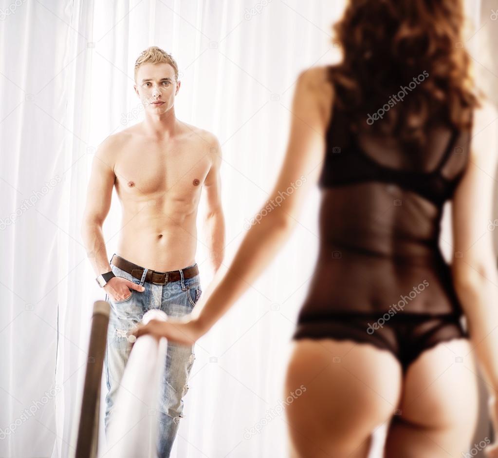 Lingerie man wearing wife