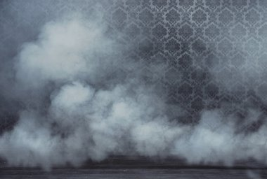 Old vintage rrom filled with dense white smoke stock vector