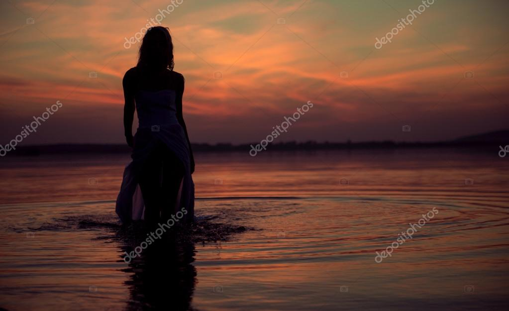 Silhouette of the water nymph