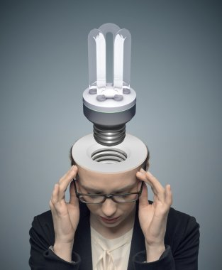 Conceptual image of thinking businessman