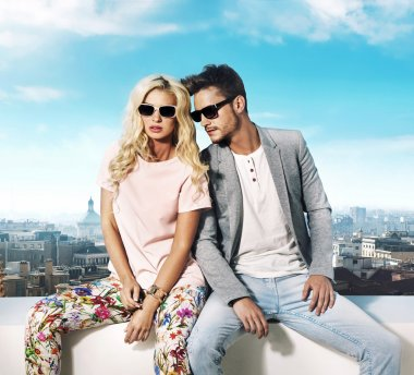 Trendy couple enjoying the summer