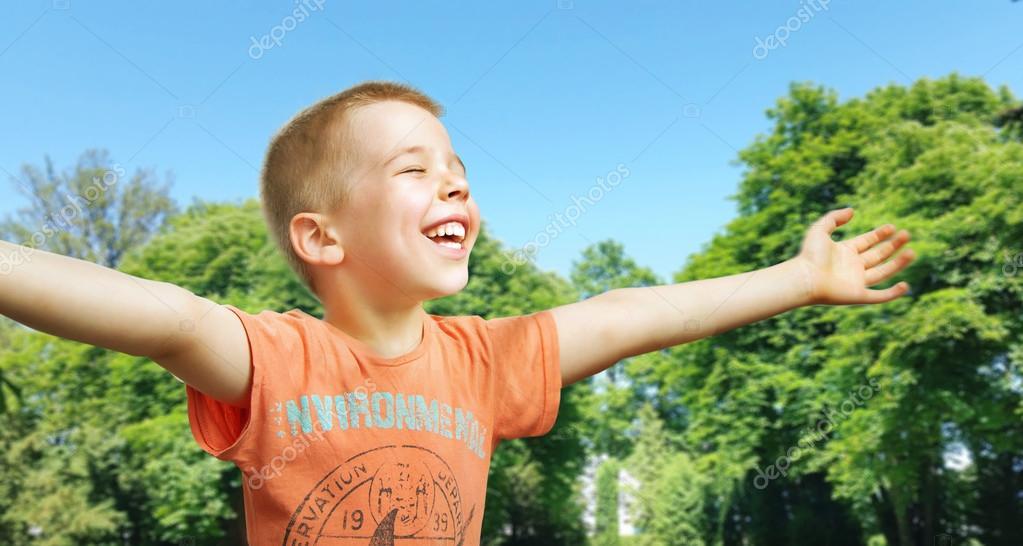 Cute little boy enjoying the summer