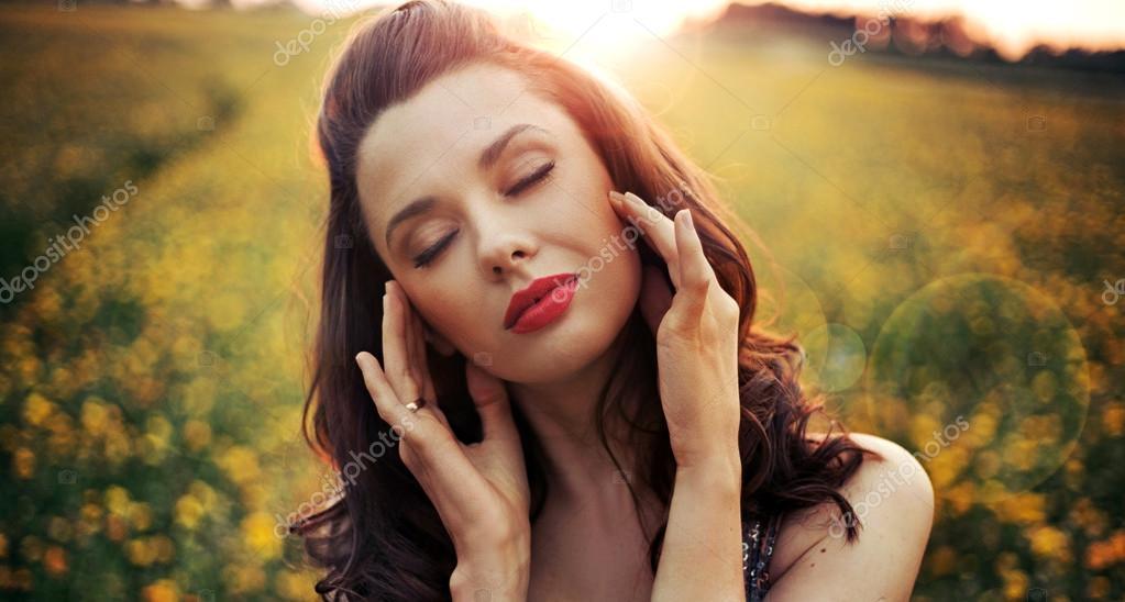 Pretty woman with big sensual lips
