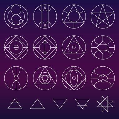 Alchemy symbols collection vector set