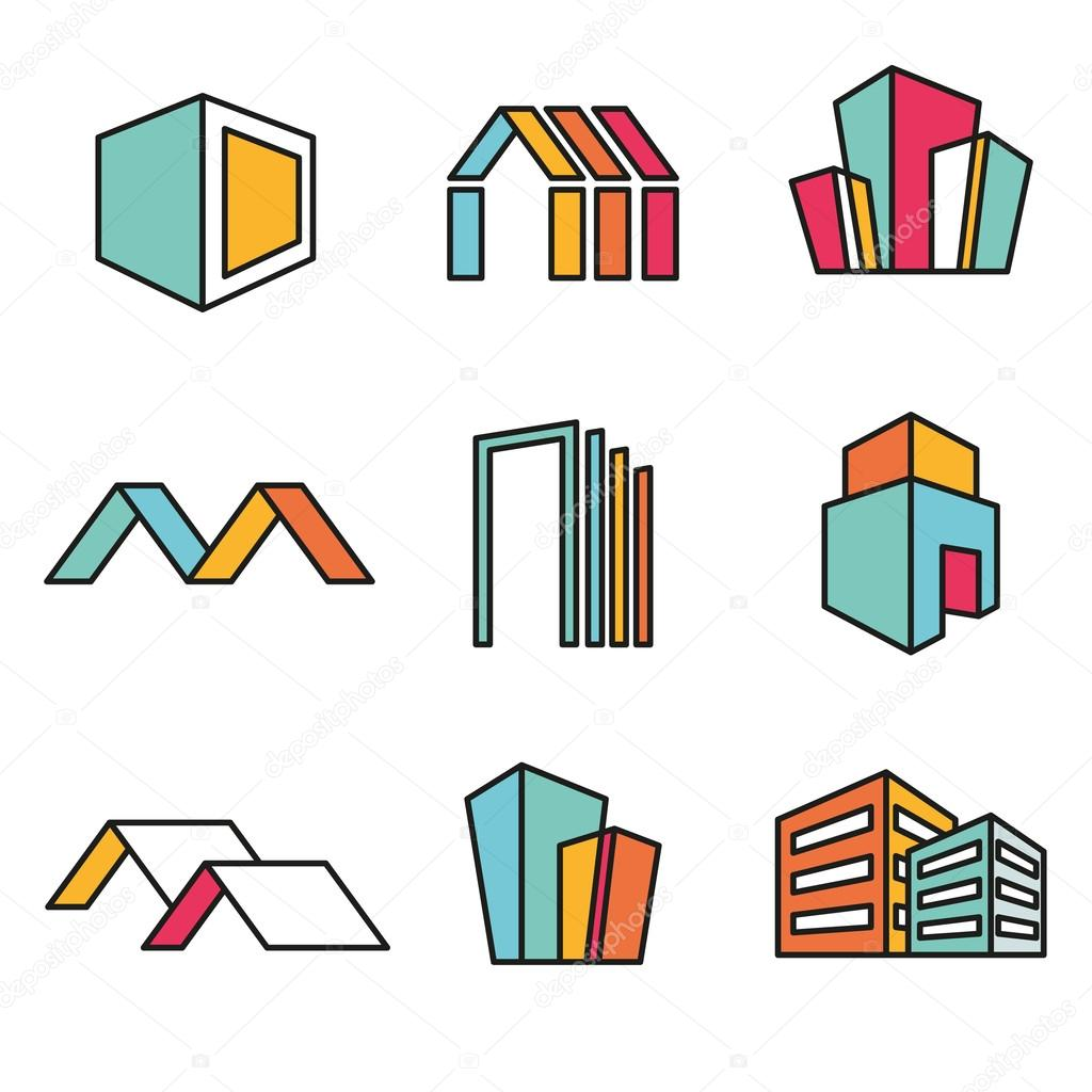 Set of vector real estate house logo designs, Vector, flat icon, badges, labels, clip art. Line art style. Variable line stock vector