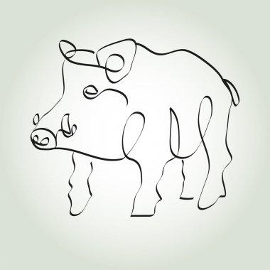 Wild boar pig in minimal line style vector