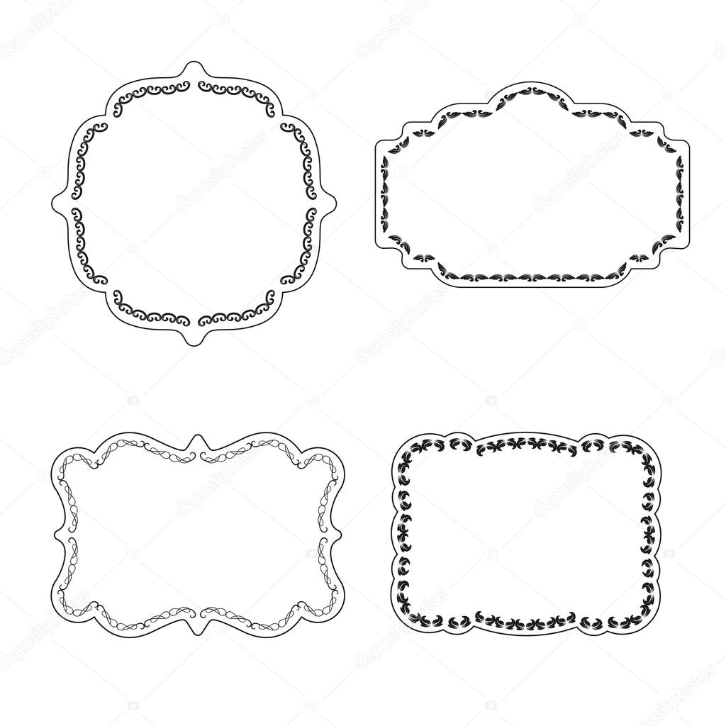 Vector marco etiquetas set decoración ornamental vintage — Vector de ...