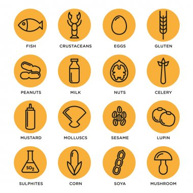 Allergen icons vector set collection