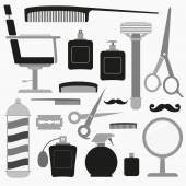 Fotografie Barber and hairdresser related icons set