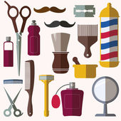 Barber and hairdresser related icons set