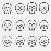Fotografia cranio di cartone animato con set di icone vettoriali di ossa