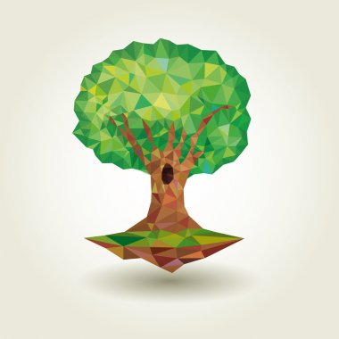 Conceptual polygonal tree. Abstract vector Illustration, low poly style. Stylized design element.